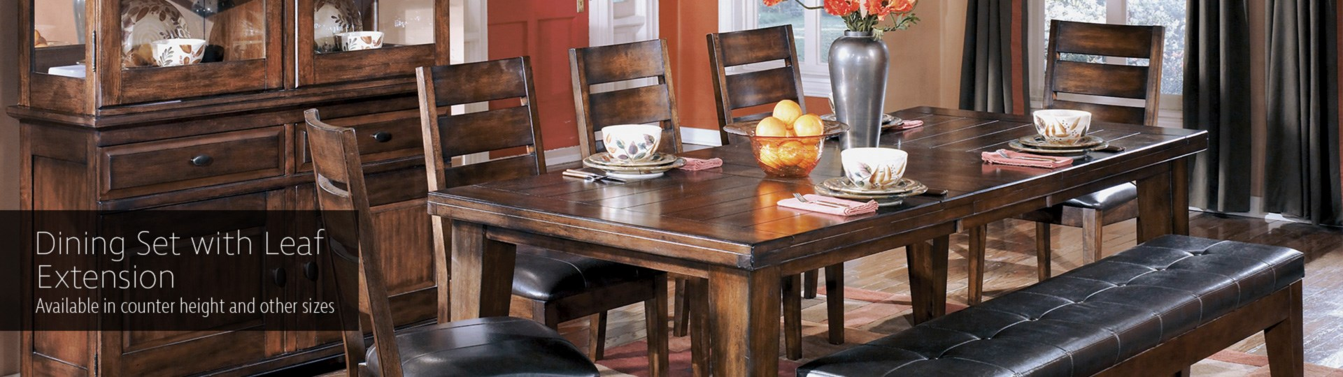 Ashley D442 Larchmont Dining Table, Chairs and Bench