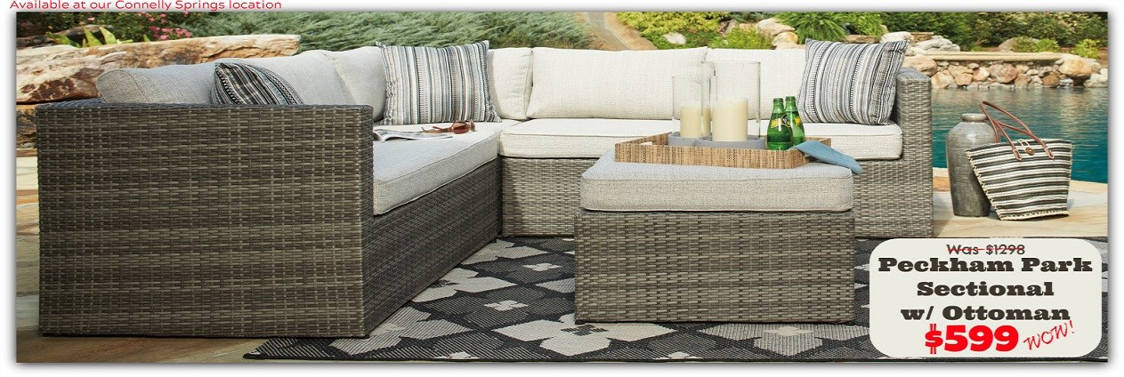 Peckham Park Sectional w/Ottoman @ Connelly Springs ONLY!