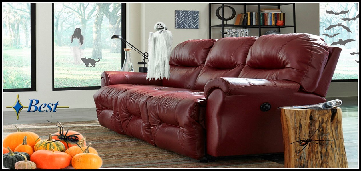 Best Bodie Red Leather Reclining Sofa