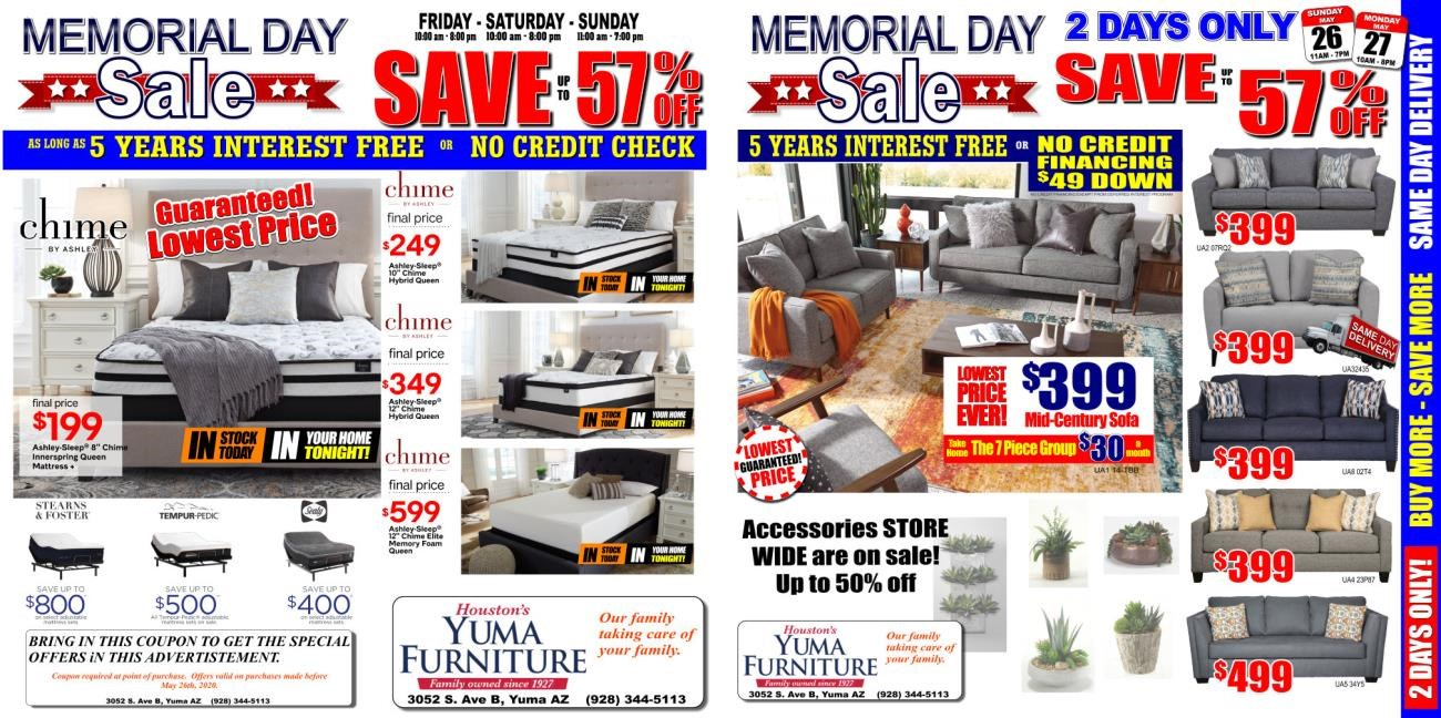 Memorial Day 2020 Yuma Furniture Ad