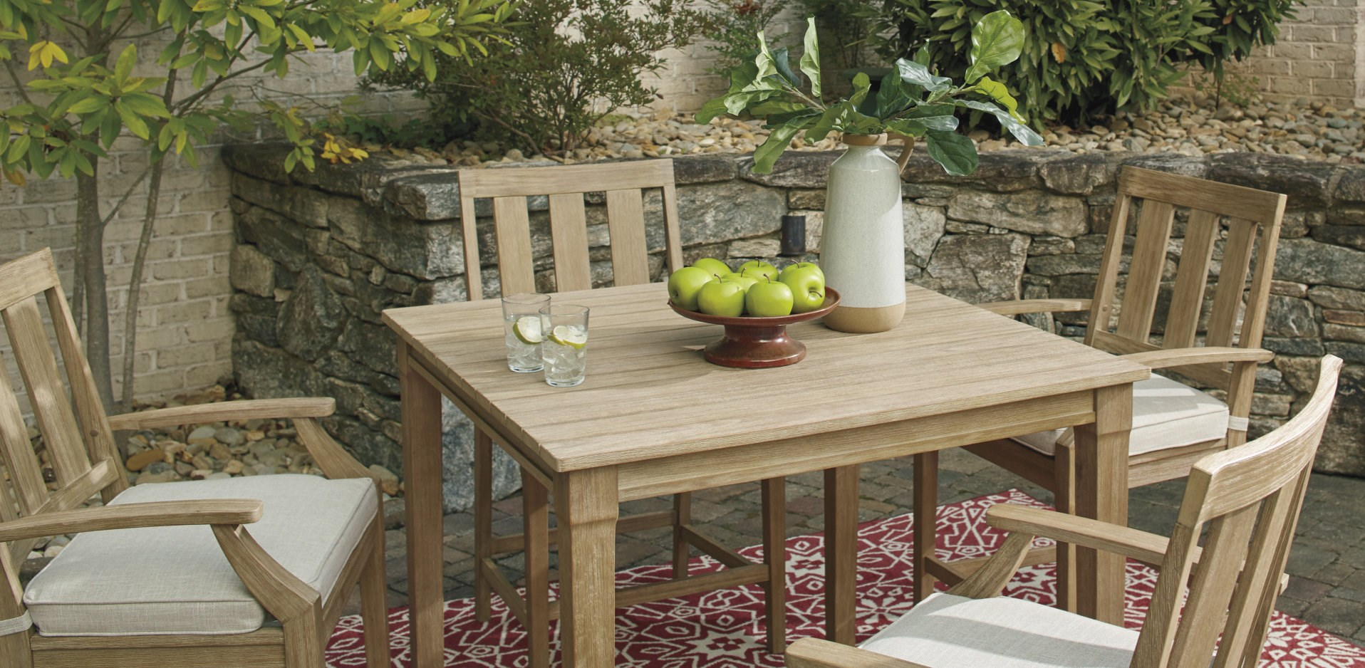 outdoor wood table with chairs