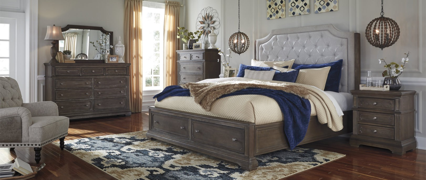 upholstered headboard wood bedroom set