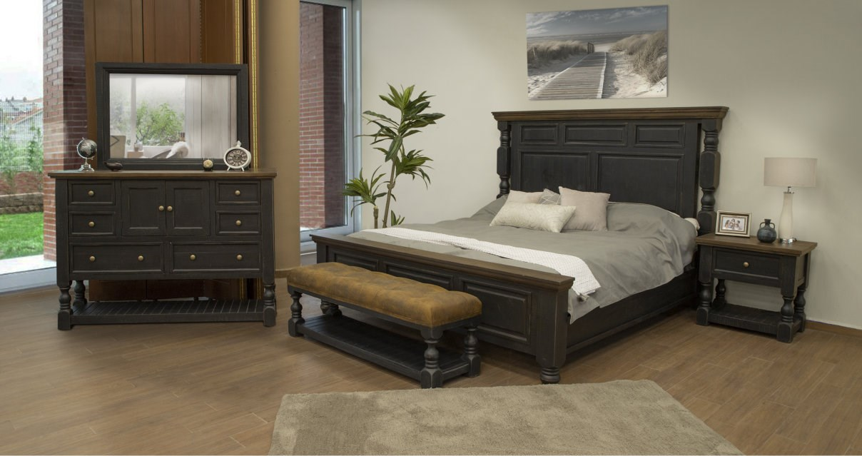 IFD dark solid wood bed frame