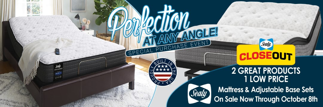 Perfection at any angle. Mattress and adjustable base sets on sale now through October 8, 2017.