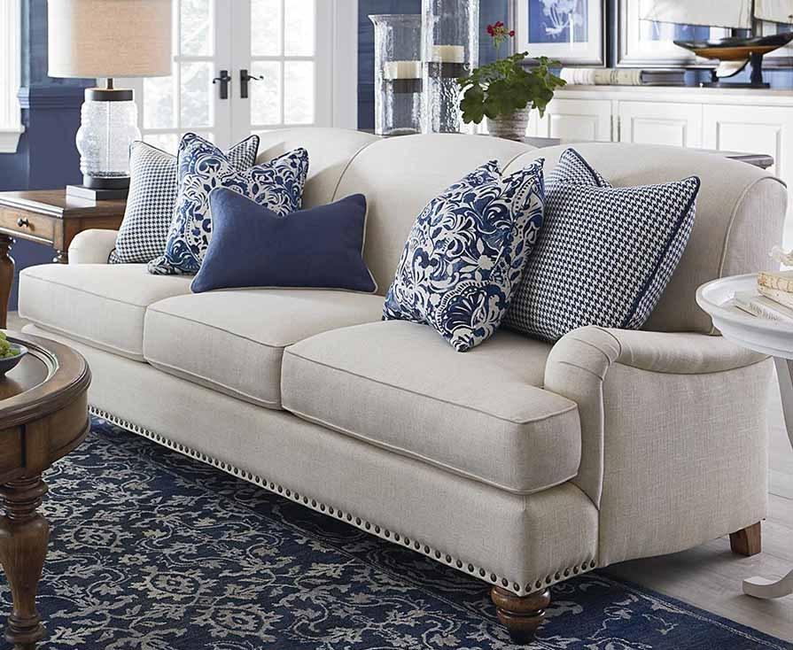 White Sofa with Throw Pillows