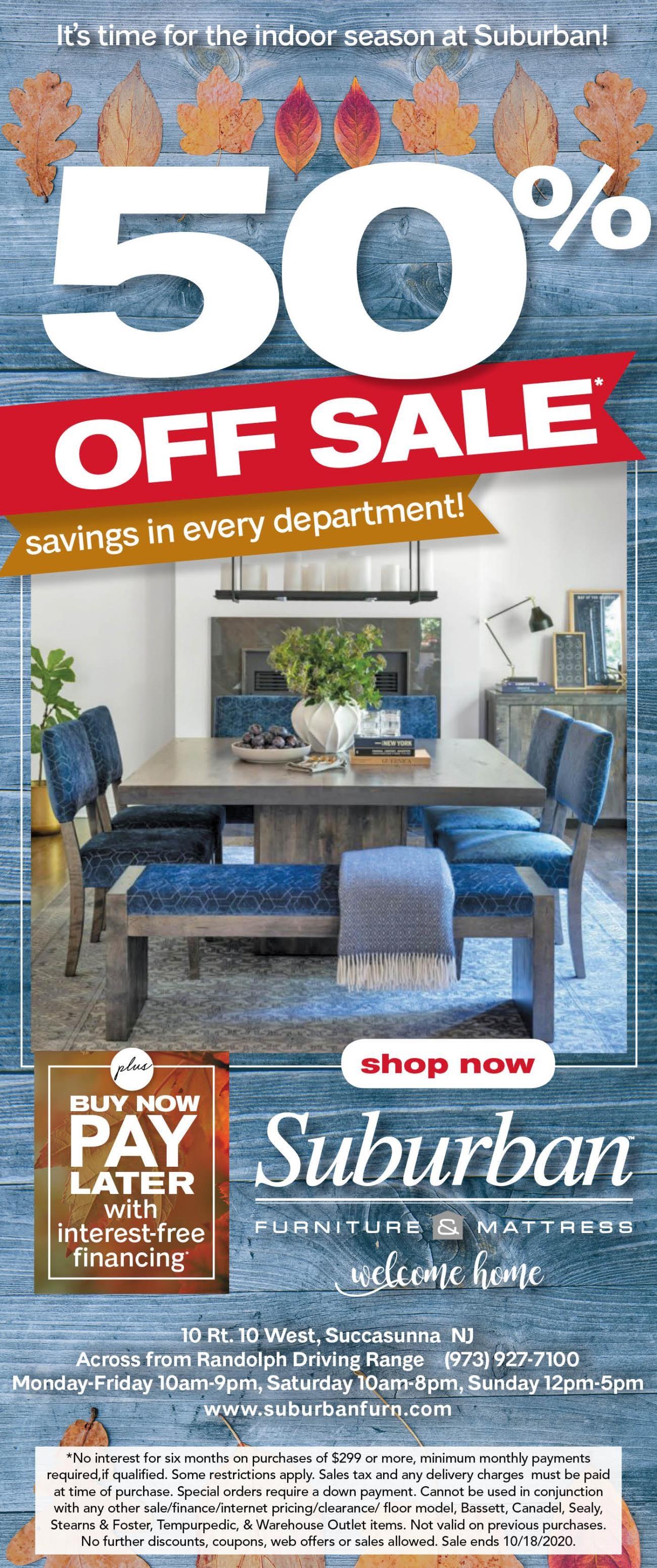 Suburban's fall 50% off sale
