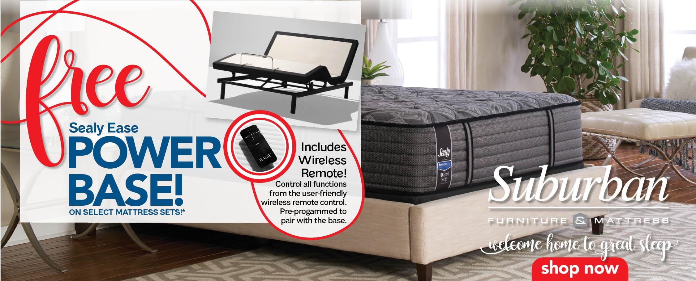 Free Sealy Ease power base on select mattress sets