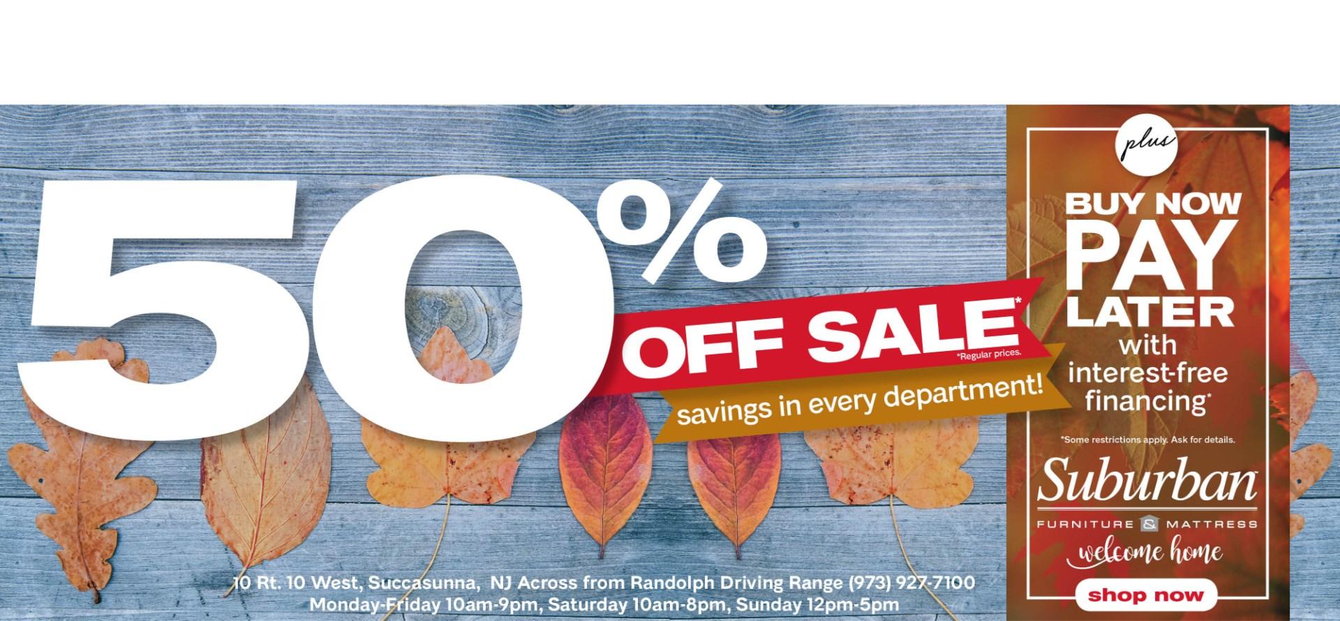 fall 50% off sale