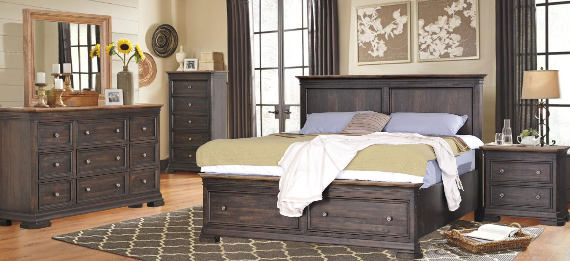 bed, dressers, and nightstands