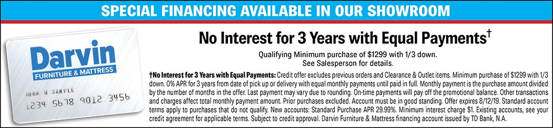 Credit and Financing | Orland Park, Chicago, IL | Darvin Furniture
