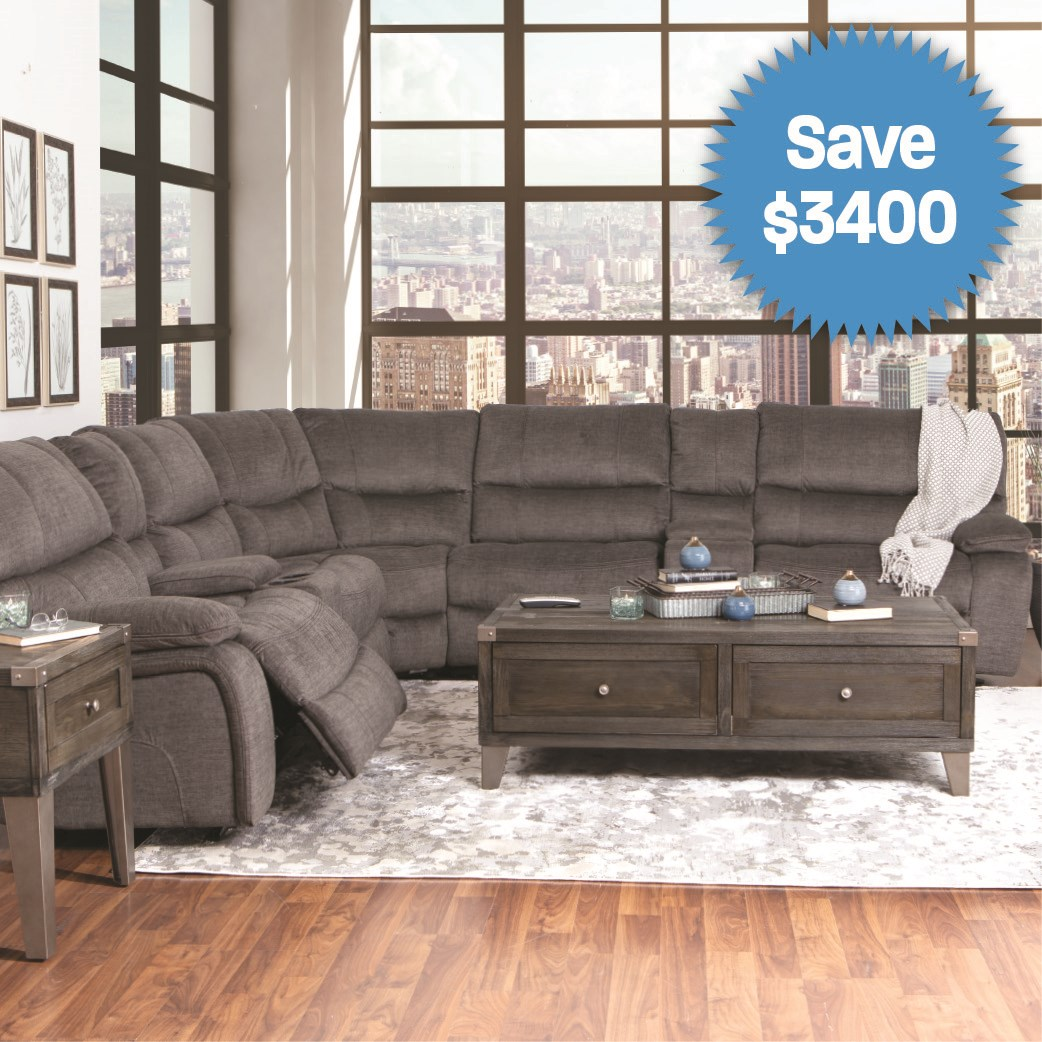 Power Leather Sofa with Power Headrests