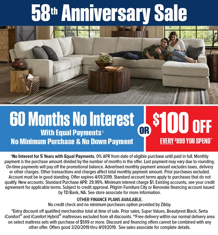 58th Anniversary Sale Financing Disclaimer
