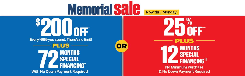 Memorial Sale Now Thru Monday!