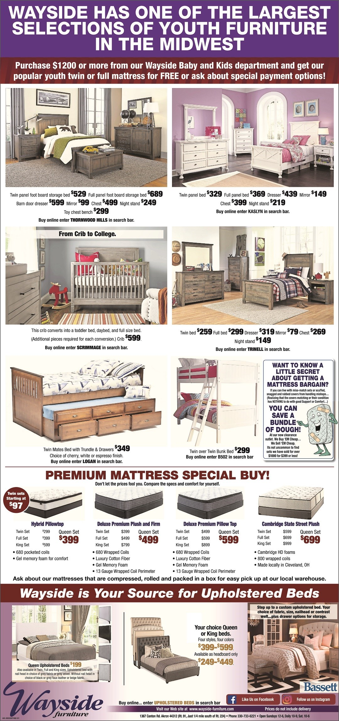 youth bedroom sets, cribs, twin beds, full beds, mates bed with trundle, bunk bed, twin over twin bunk bed, upholstered beds, upholstered headboard, mattresses, twin mattress, full mattress, queen mattress, king mattress