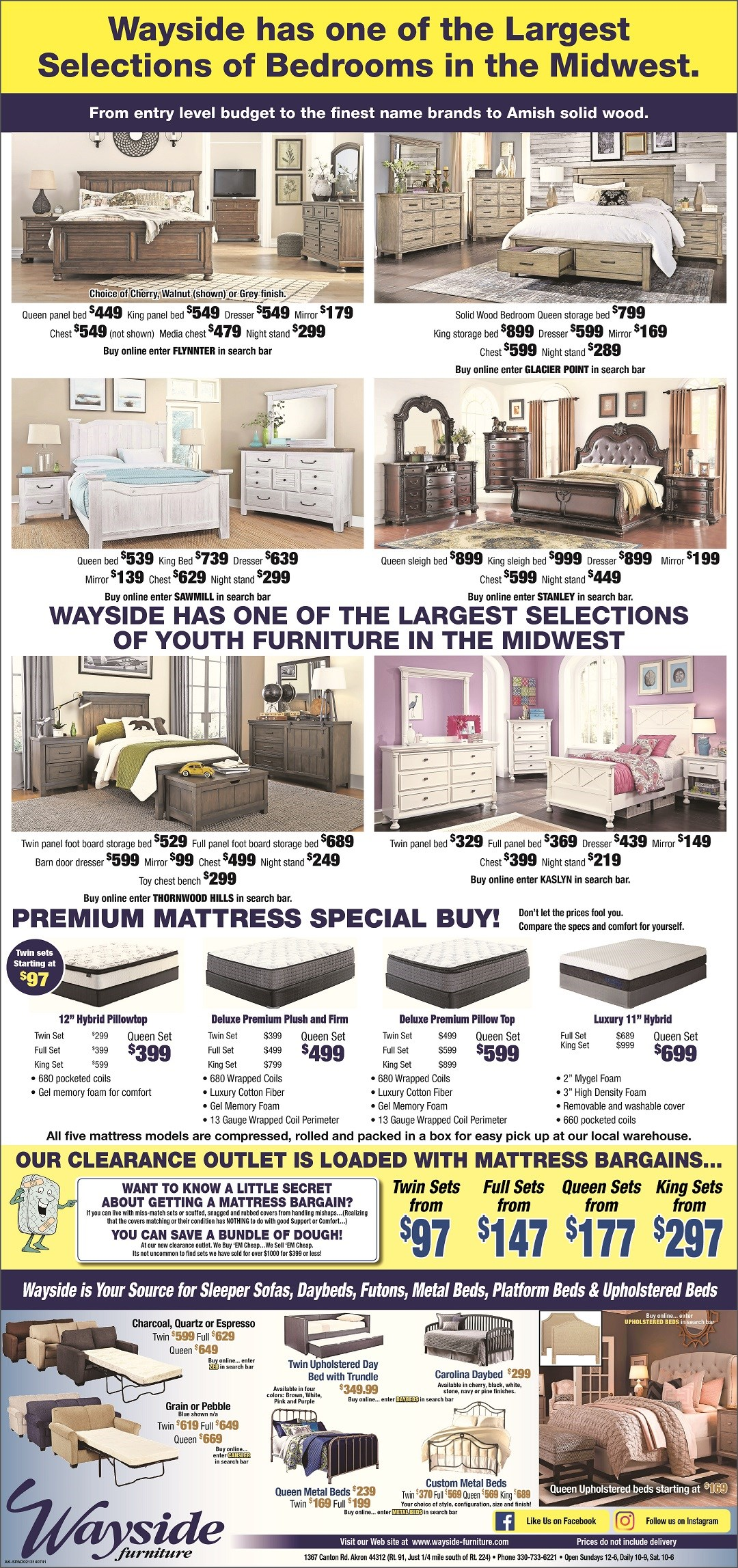 bedroom sets, master bedroom, beds, queen beds, king beds, mattresses, sleeper sofa, daybed, metal bed, upholstered beds, youth bedroom