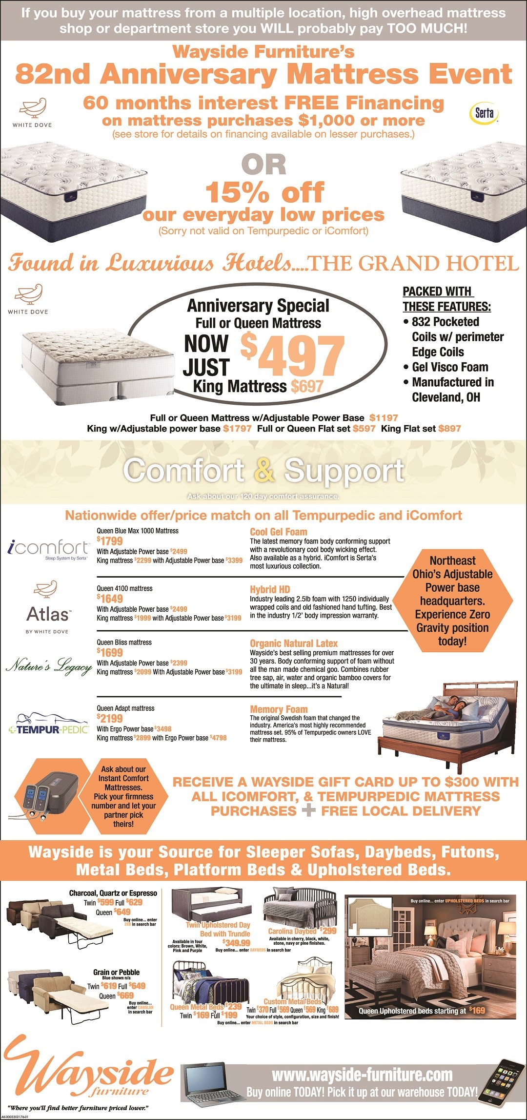 mattress sale, Serta, White Dove, Grand Hotel,iComfort, Tempurpedic, Atlas, Nature's Legacy, daybeds, metal beds, iron beds, upholstered beds, sleeper sofa