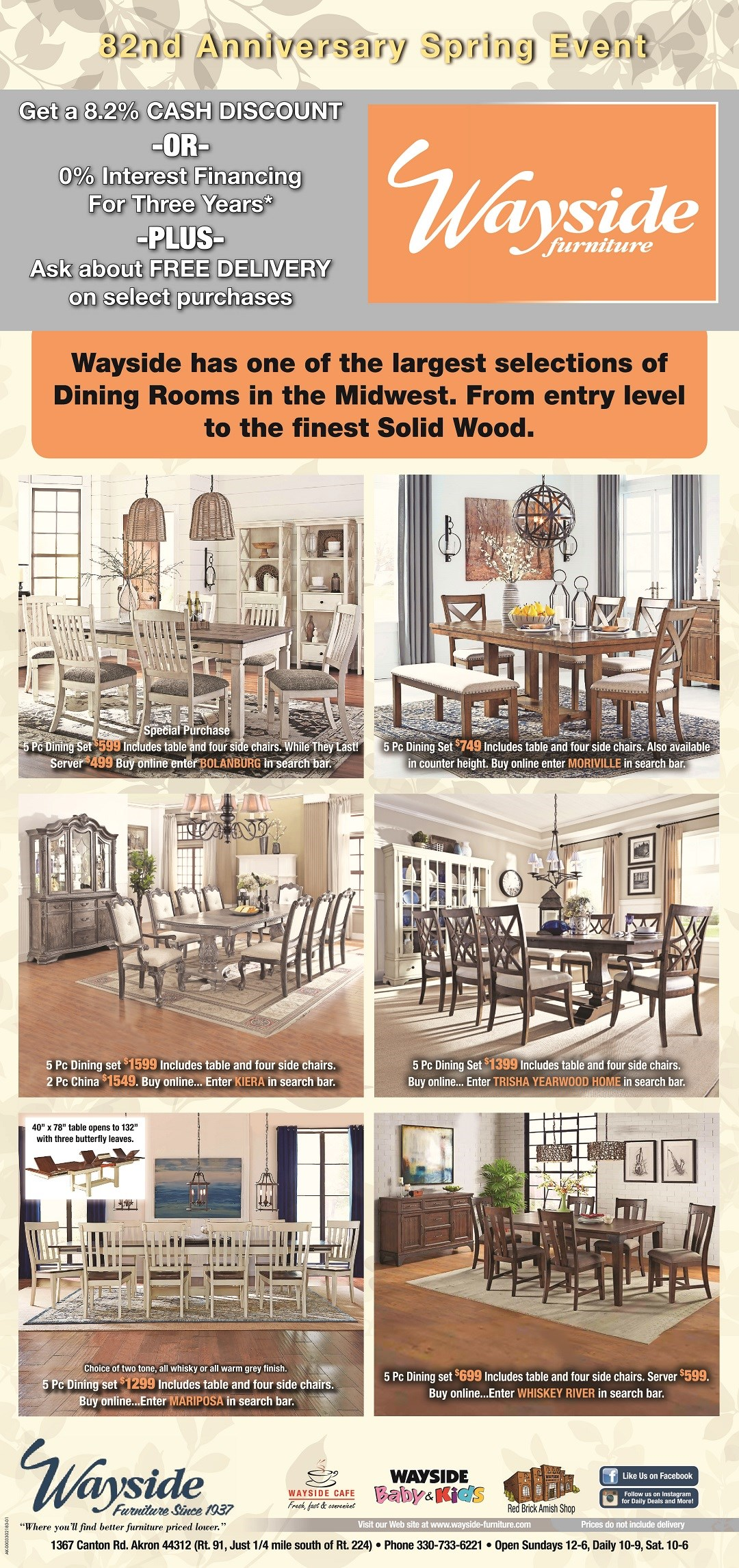 dining room set, table and chairs, stools, server, bench seat, Ashley dining room, Liverty dining, Trisha Yearwood Home,