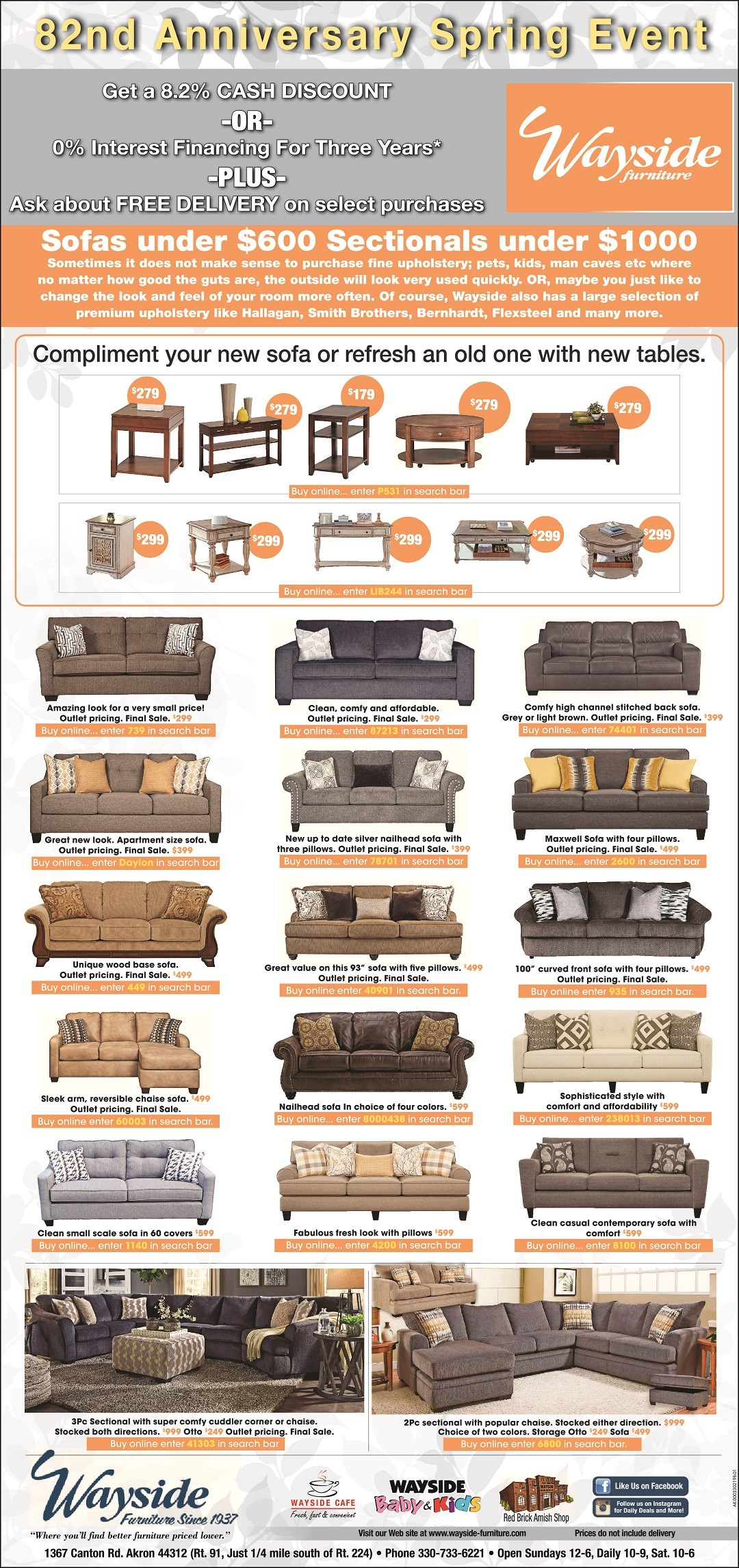 sofas, chaise sofa, sectionals, occasional tables, end table, cocktail table, sofa table, free delivery