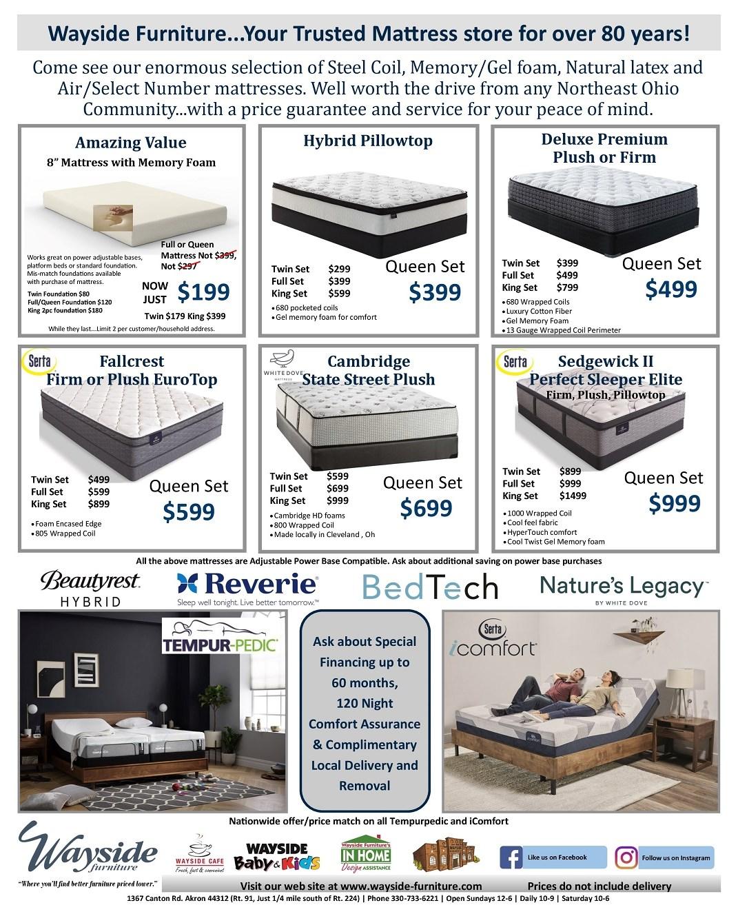 Serta, White Dove, Beautyrest, Tempurpedic, icomfort, nature's legacy, foam mattress, latex mattress, gel memory foam, firm, plush, pillowtop, Reverie adjustable base