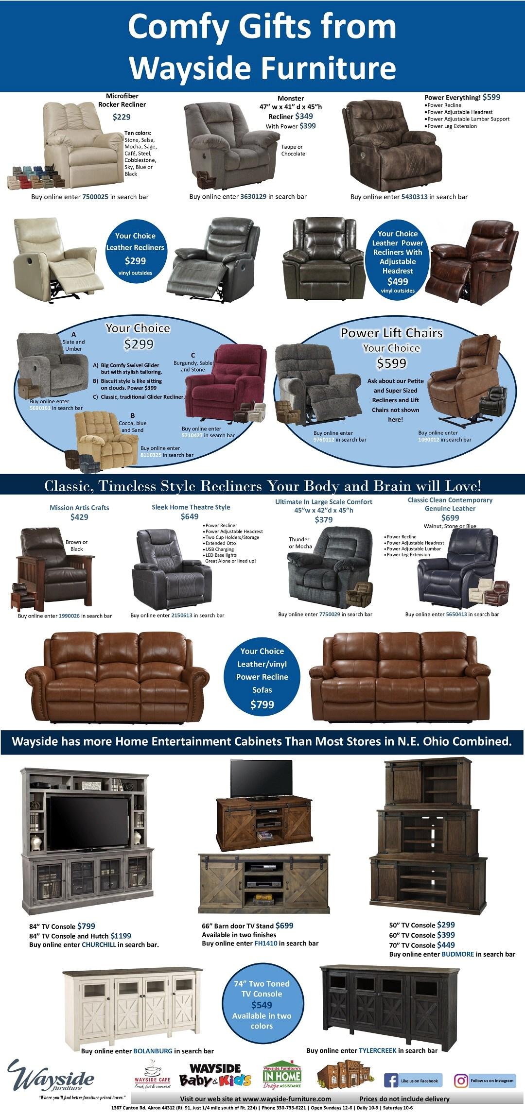 recliners, power recliners, rocker recliner, leather recliner, adjustable headrest, TV stands, TV console