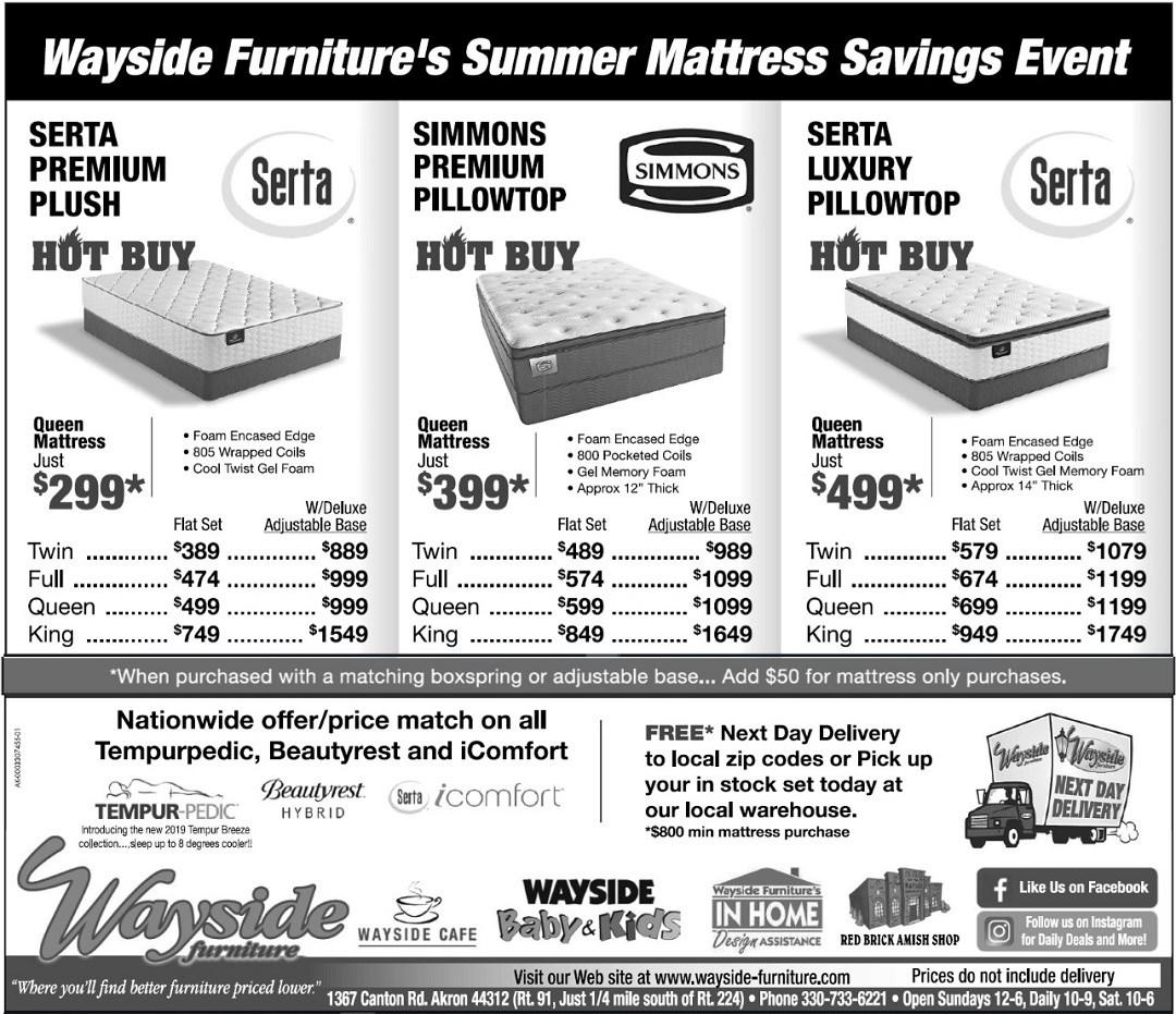Wayside Furniture's Summer Mattress SAvings event Serta premium plush mattress, Simmons premium pillowtop, Serta luxury pillowtop