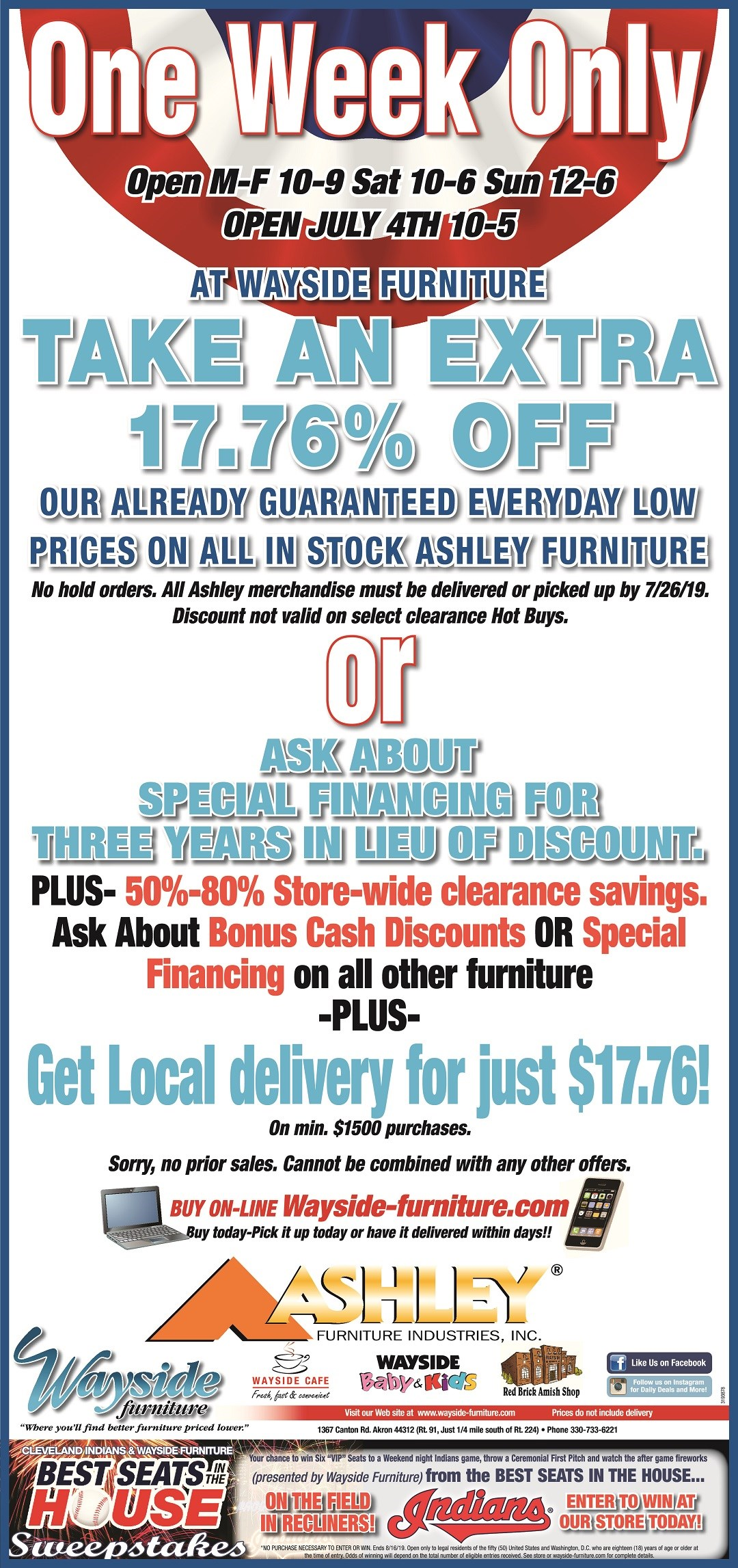 Charmant 17.76% Off All In Stock Ashley Furniture. Local Delivery For $17.76 With  Min $1500