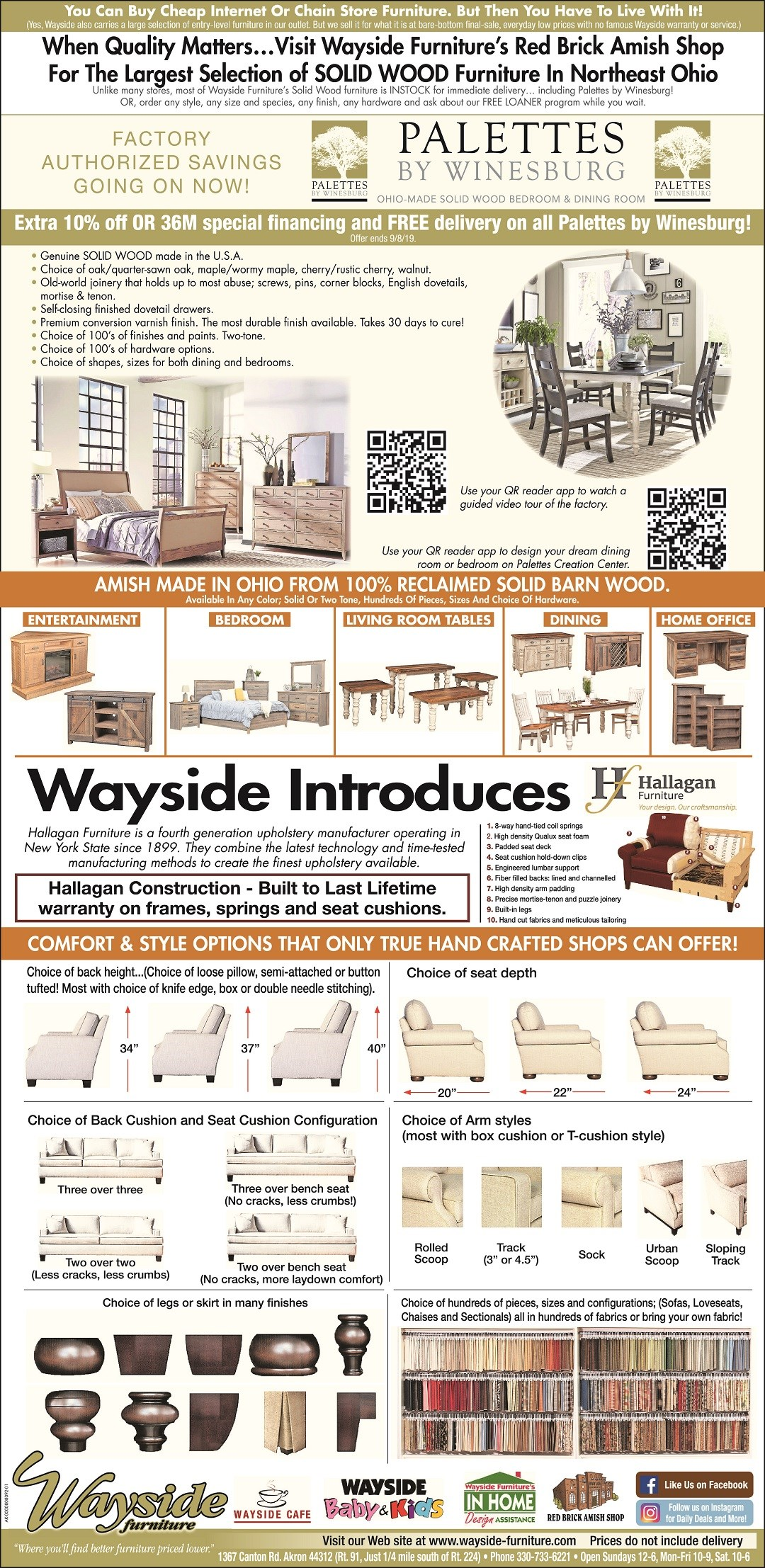 Palettes by Winesburg Factory Authorized Event. Extra 10% off, plus 36 months special financing and free delivery on all Palettes by Winesburg. Sale ends 9/8/19.  Amish made in ohio from 100% reclaimed solid barn wood by Urban Barnwood.  Custom hand crafted upholstery by Hallagan. Choice of back height, seat depth,  back cushion and seat cushion configuration, choice of arm style,leg or skirt, finish and fabric.