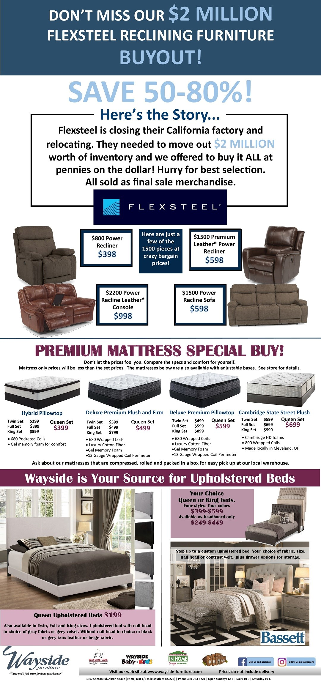Flexsteel reclining furniture $2 million buyout upholstered beds
