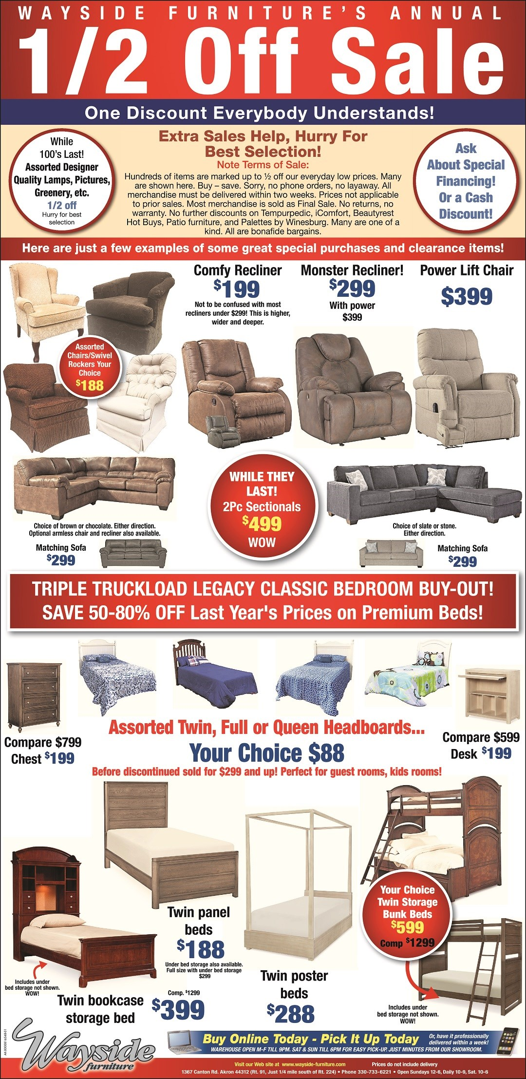 Wayside Furniture's Annual half off sale on hundreds of items storewide