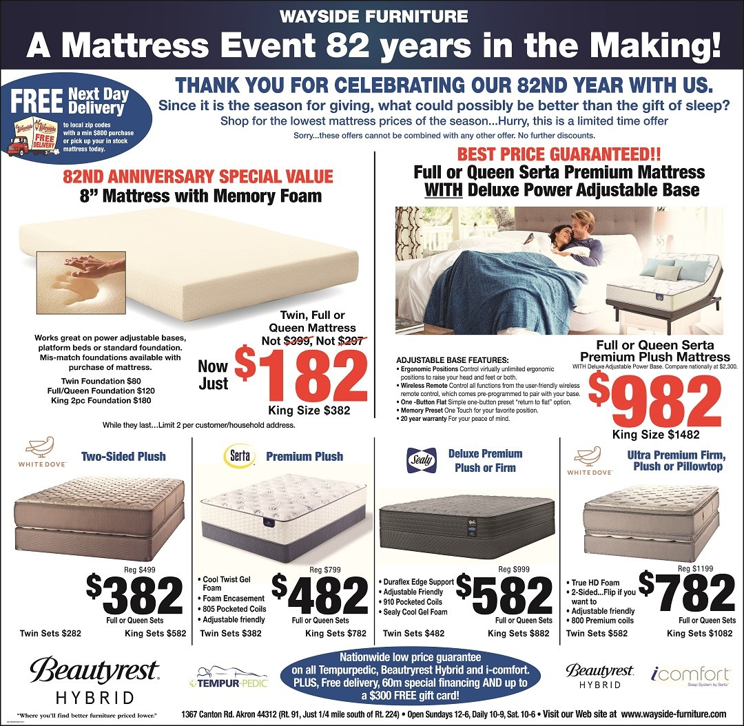 Wayside Furniture's 82nd Anniversary mattress event. Free Delivery with min $800  mattress purchase.