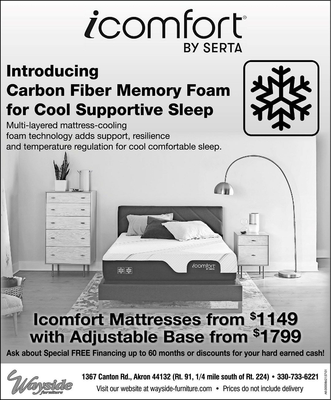Introducing iComfort by Serta Carbon Fiber Memory foam for Cool Supportive Sleep. Mattresses from $1149 with adjustable base from $1749