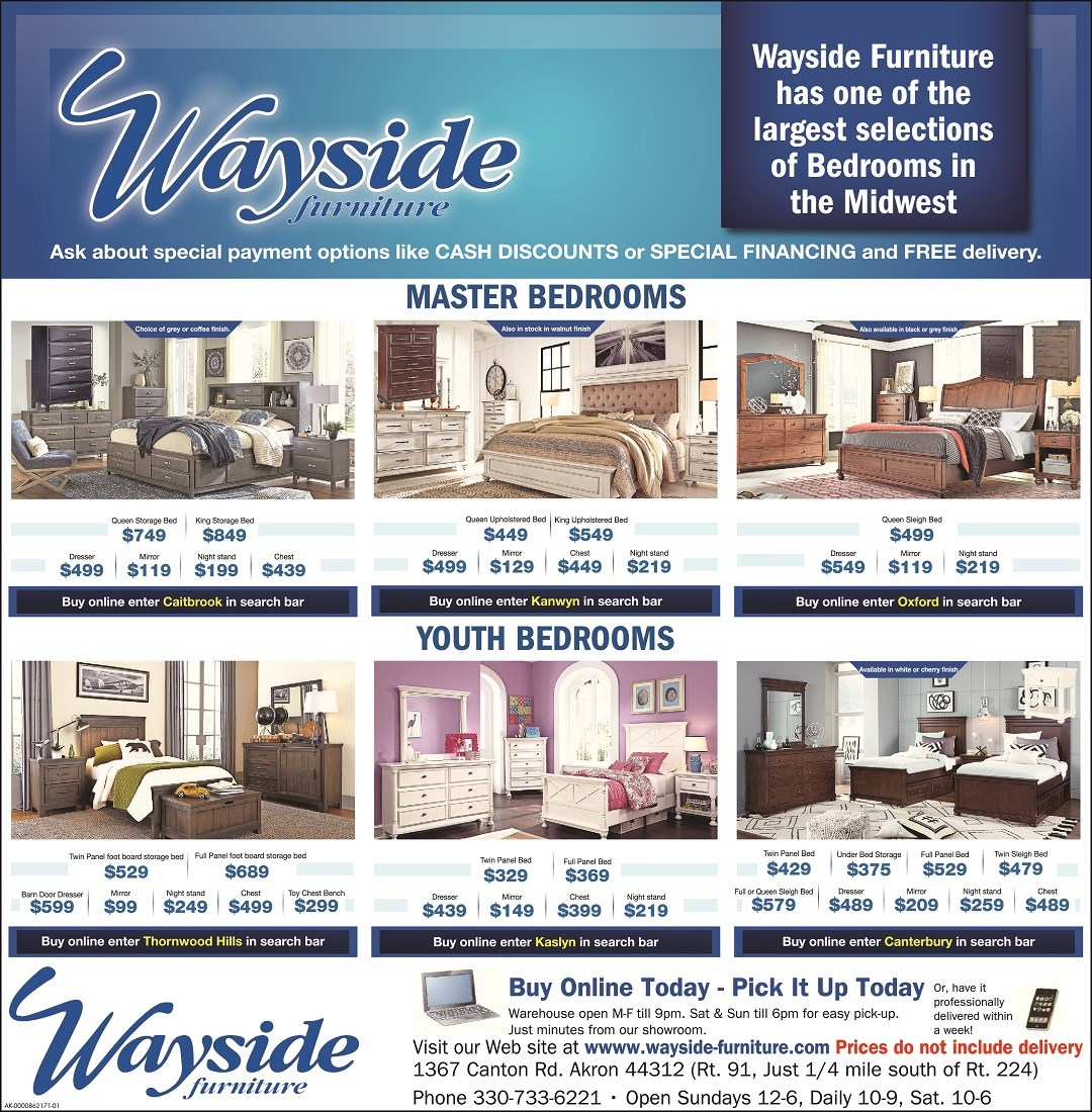 Wayside has one of the largest selections of bedrooms in the midwest. Youth and master bedroom sets.