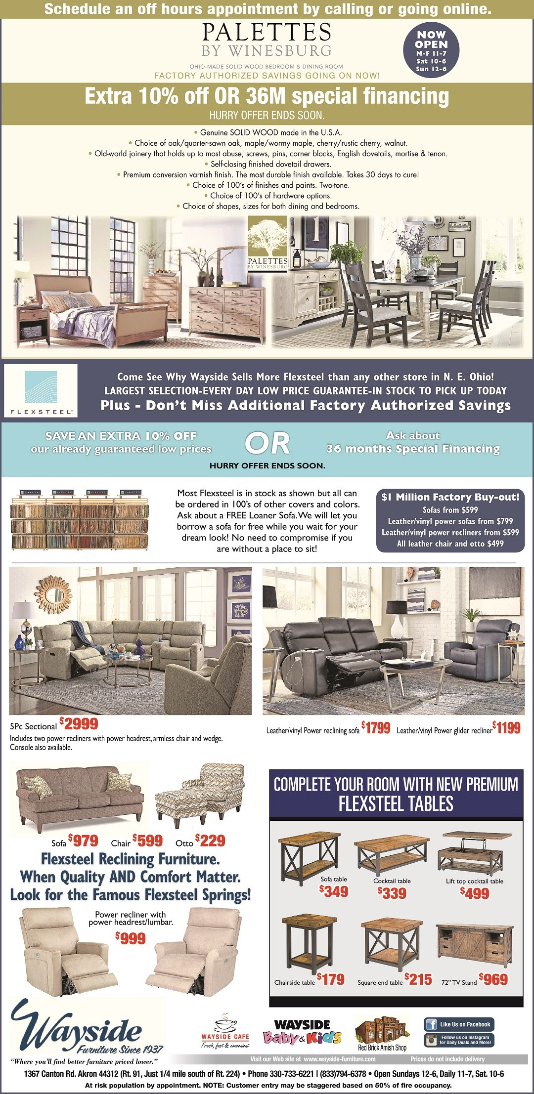 Palettes by Winesburg and Flexsteel Factory Authorized savings. Get an extra 10% off our everyday low prices.