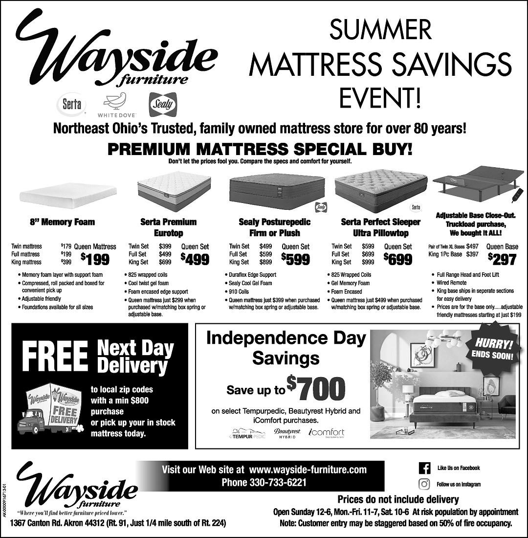 Wayside furniture's Summer Mattress SAvings event.