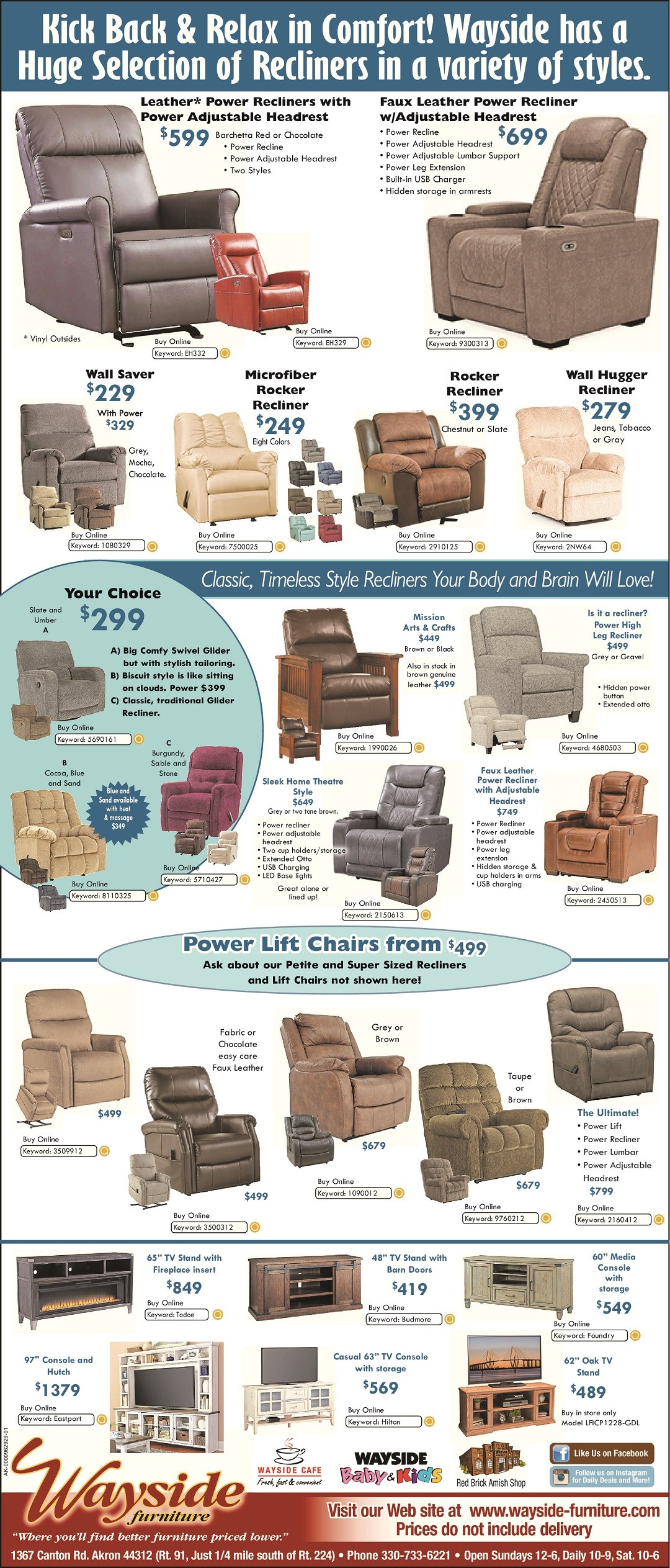 Wayside has a huge selection of recliners in a variety of styles in stock