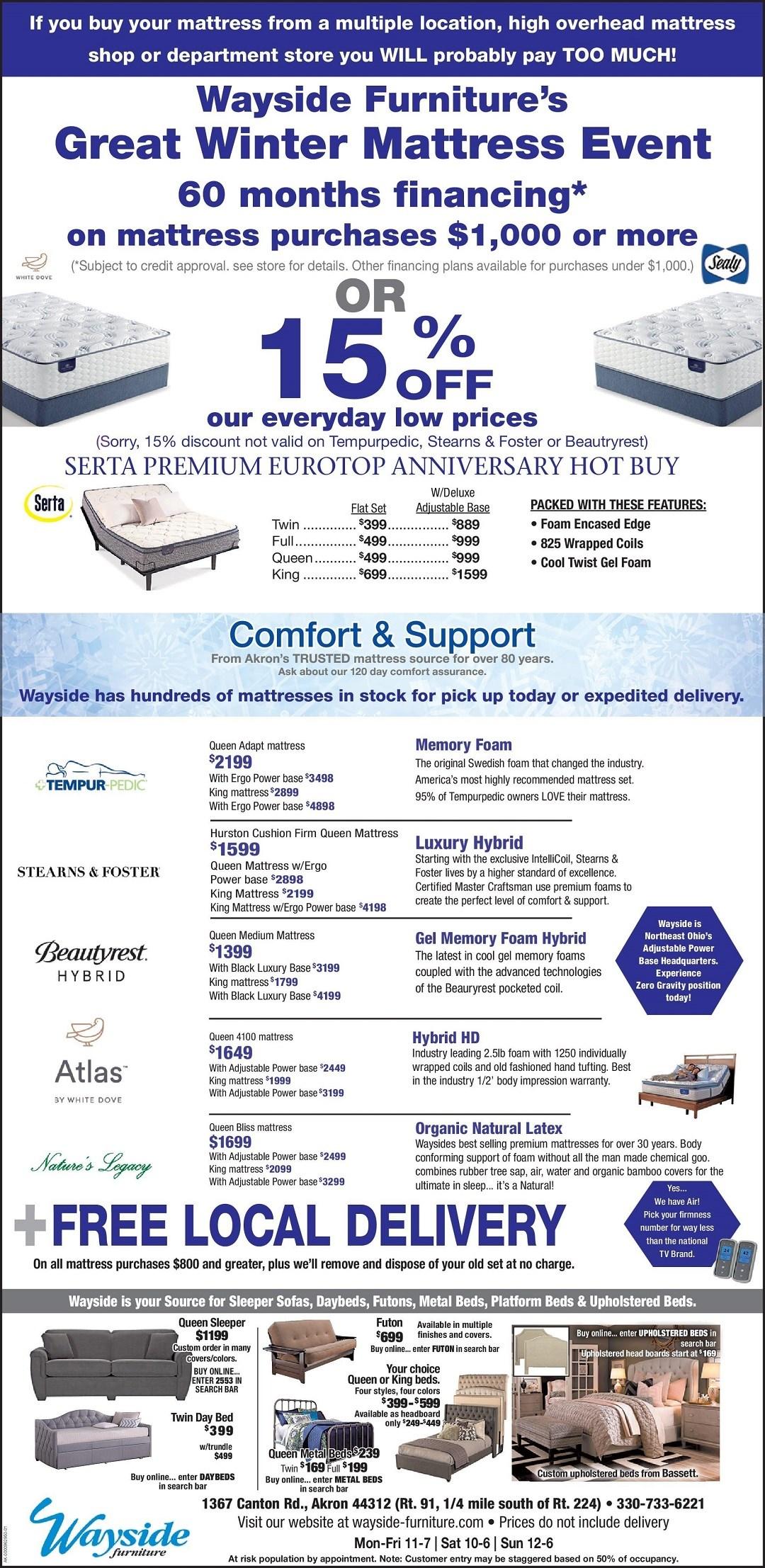 Wayside Furniture's Great Winter Mattress Event