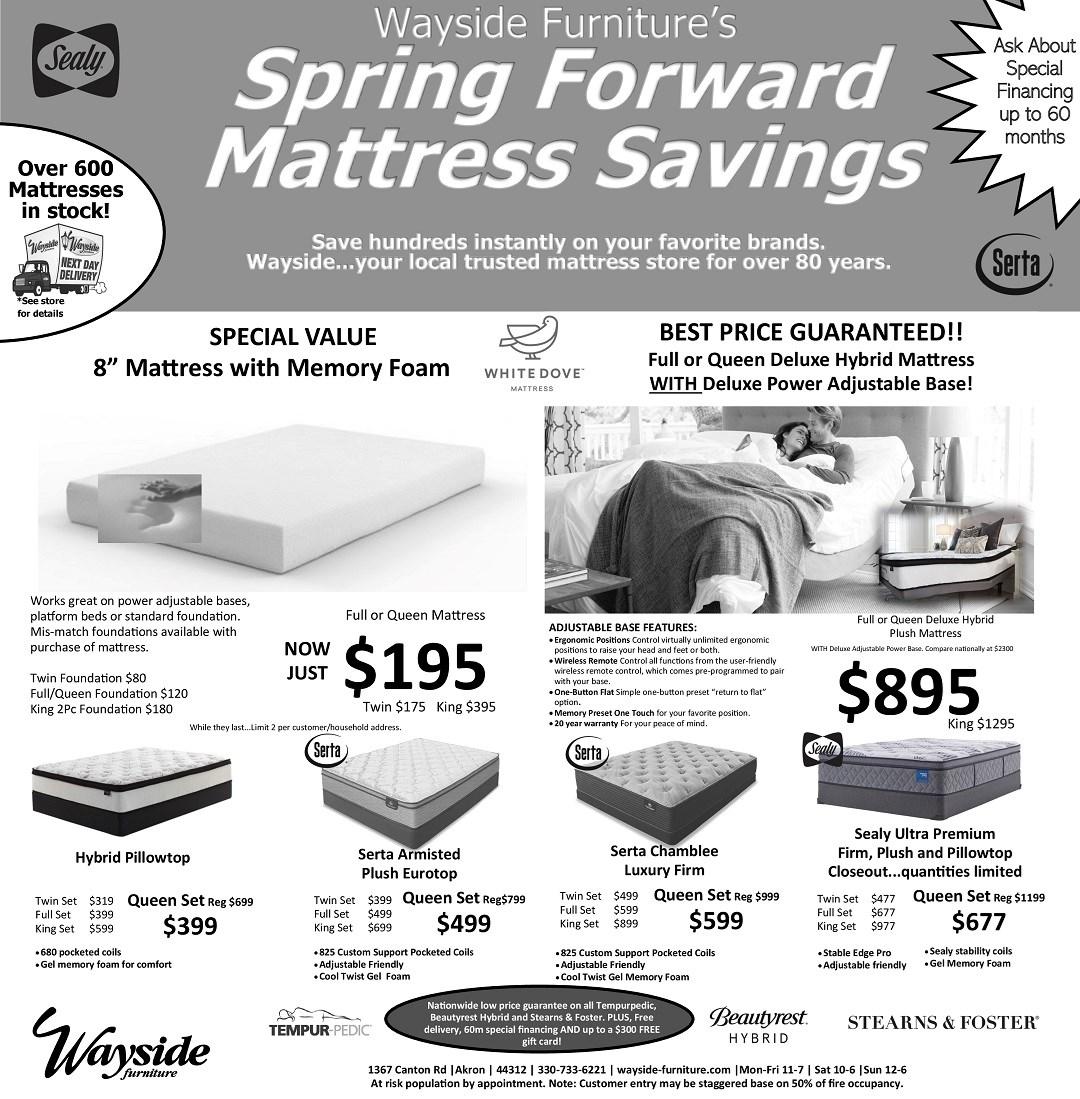 Wayside Furniture's Spring Forward Mattress SAvings. Save hundreds instantly on  your favorite brands.