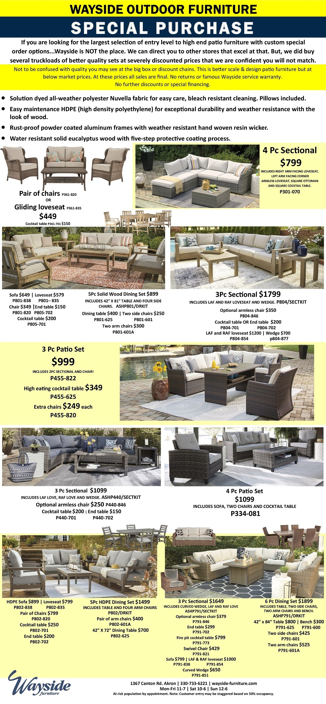 Wayside Furniture special purchase outdoor furniture