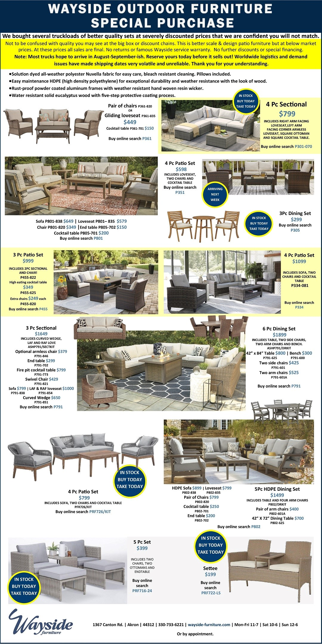 outdoor furniture special purchase