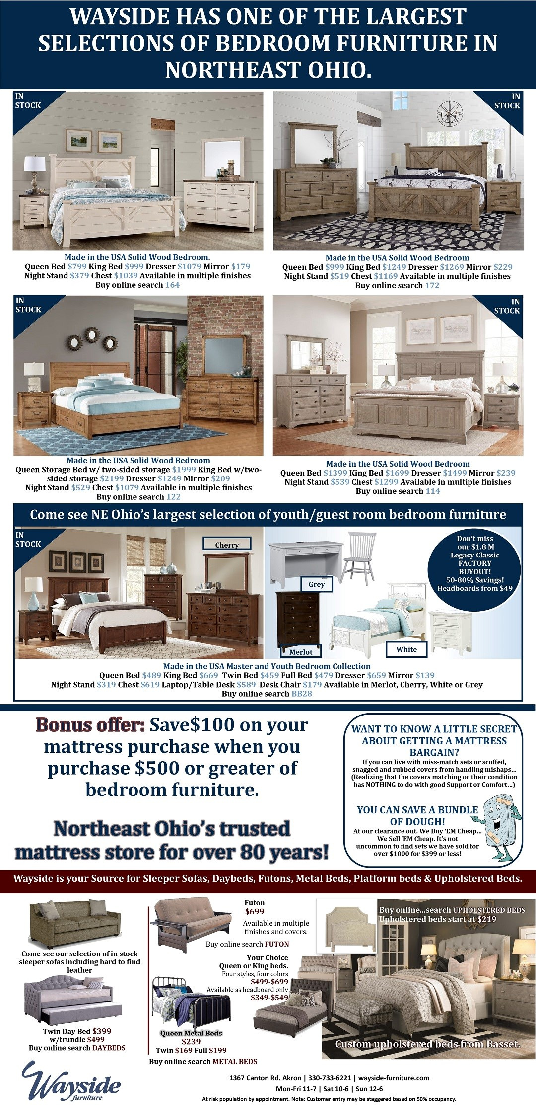 wayside has one of the largest selections of bedroom furniture in Northeast Ohio