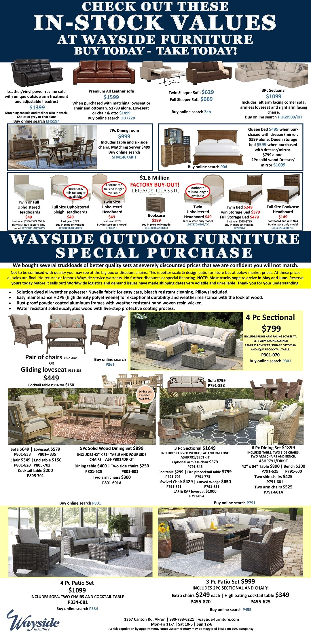 Check out these in stock values at Wayside Furniture buy today take today!
