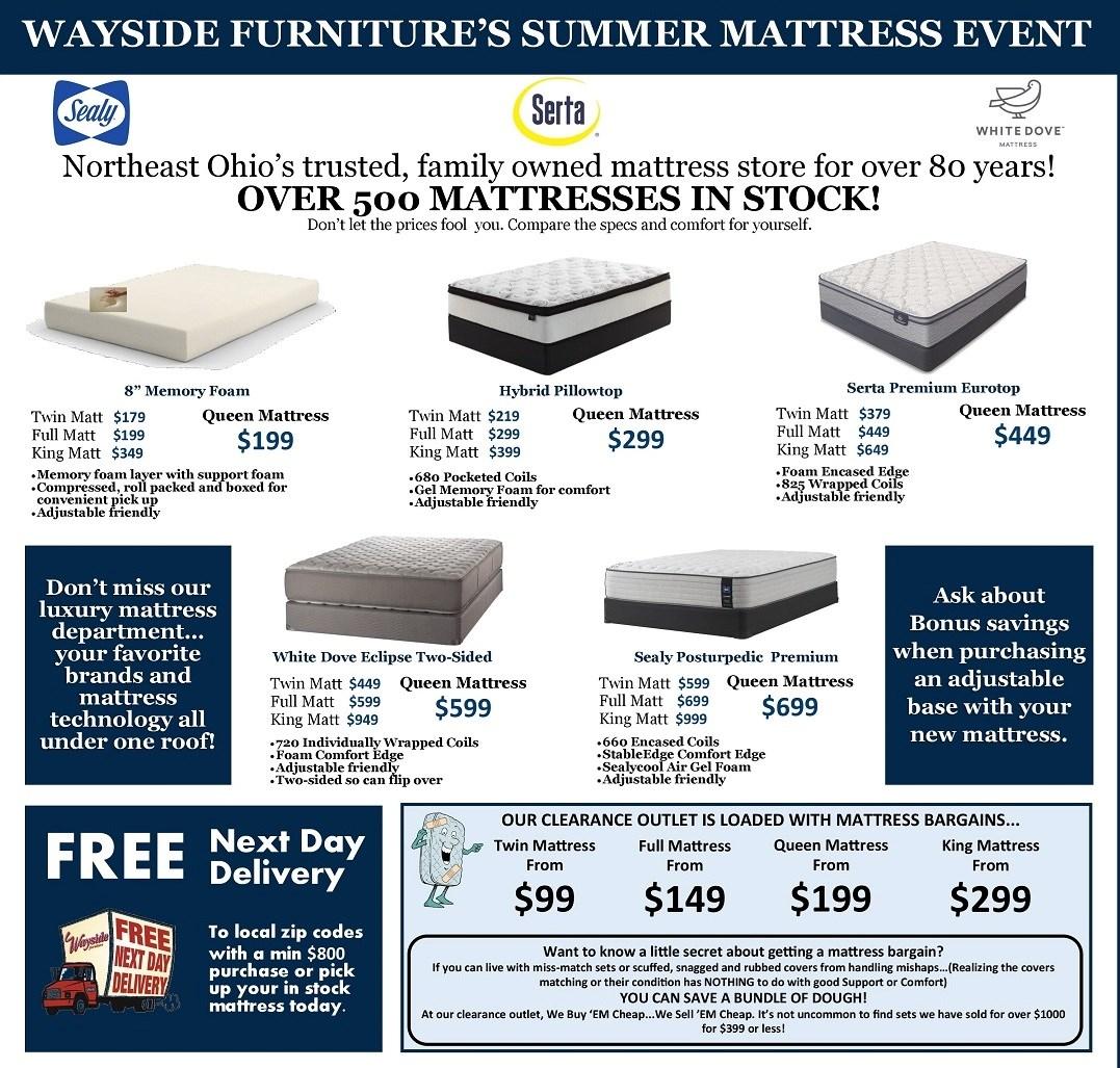 Wayside Furniture's Summer Mattress Savings Event