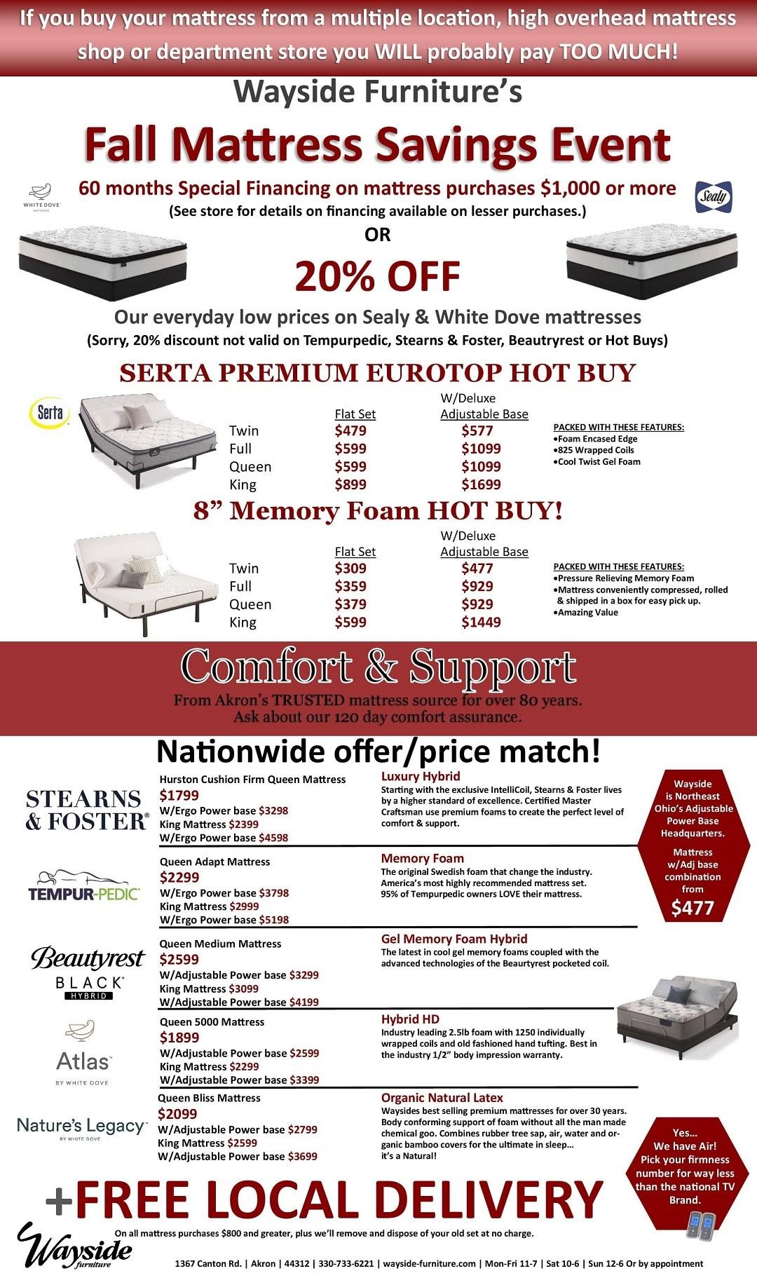 Wayside Furniture's Fall mattress savings event