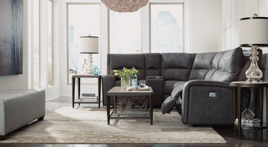 grey sectional, Flexsteel Latitudes-Rhapsody sectional
