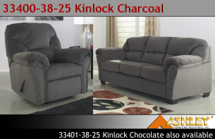 Ashley 33400-38-25 Kinlock Charcoal Sofa and Recliner