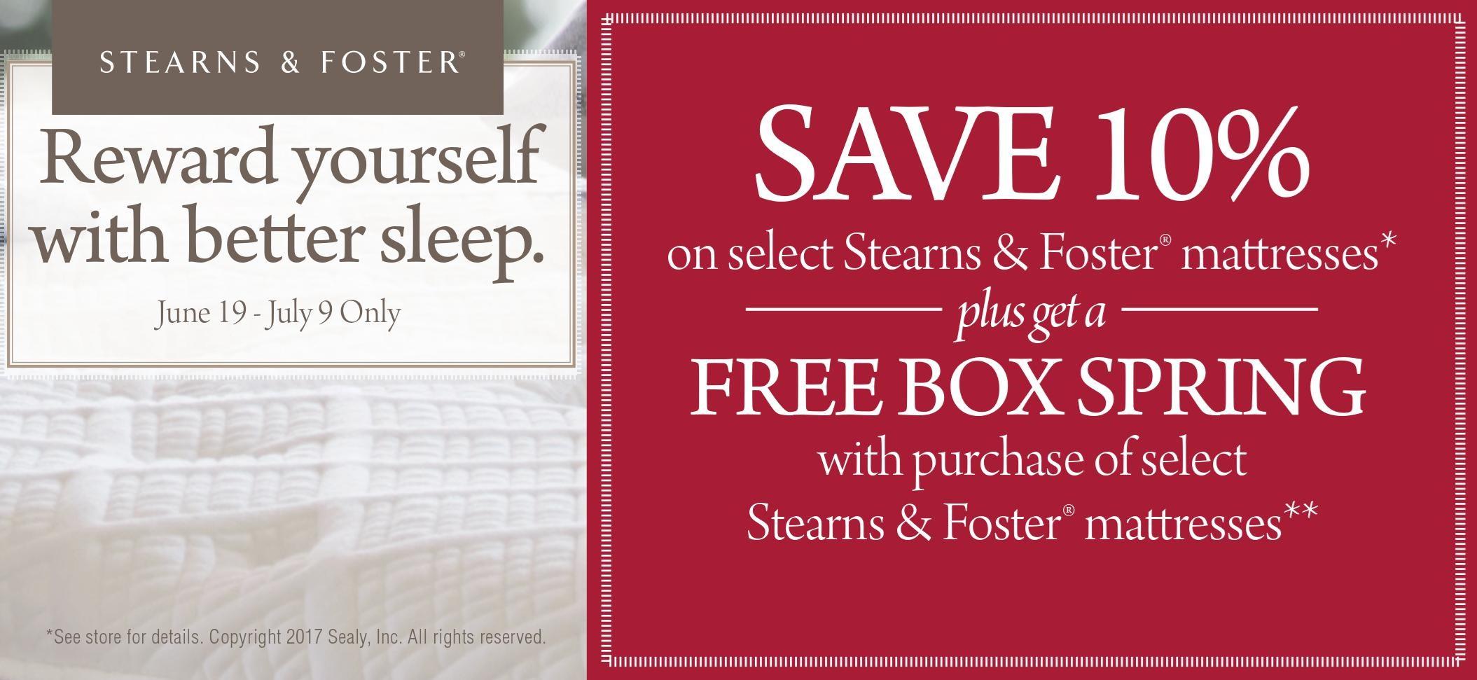 Stearns & Foster Mattress Savings