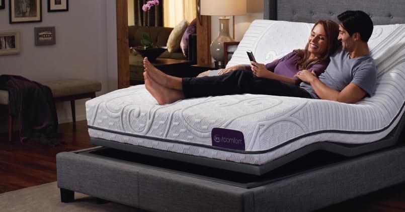 Couple laying on a Serta mattress