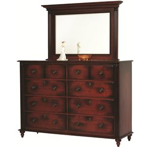 Rotmans Amish Fur Elise High Dresser and Mirror