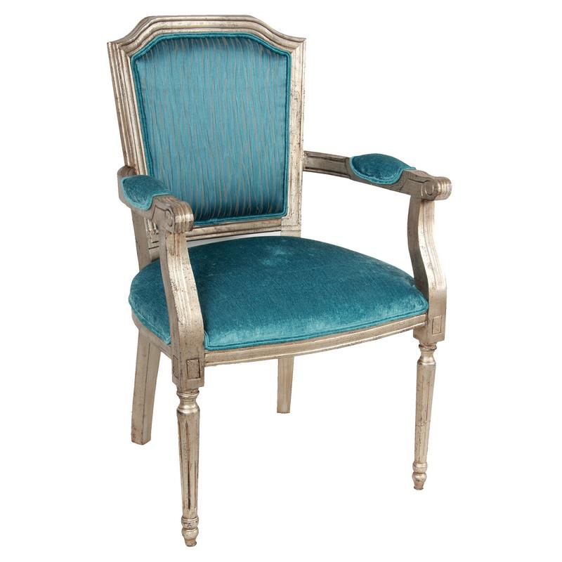 A & B Home Accent Chairs Teal Wood Arm Accent Chair - Item Number: ABHO-AV37867