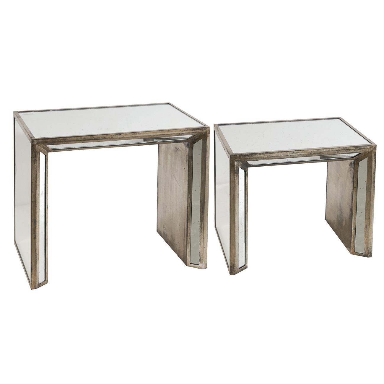 A & B Home Occasional Accents Waverly Mirrored Nesting Side Tables - Item Number: ABHO-36137